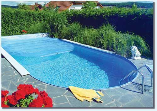 Luftkammerfolie f r stahlwand schwimmbecken langform ovalform for Schwimmbecken mit stahlwand